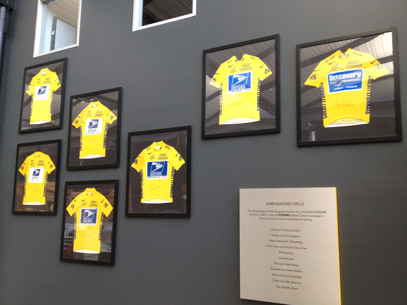 Lance Armstrong Jerseys on wall, an example of bad leadership